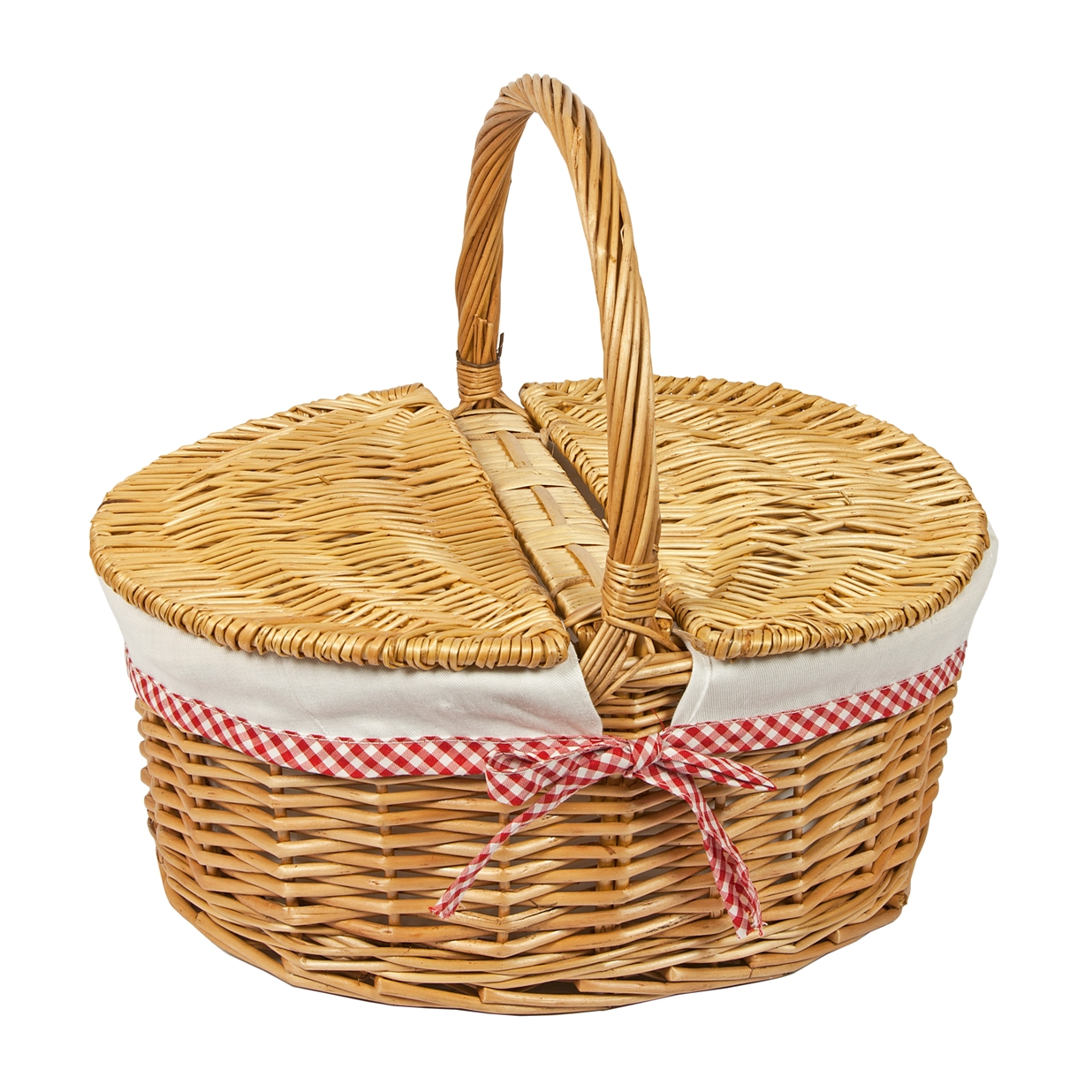 Woodluv Set of 2 Small Oval Wicker Basket with Carry Handles Natural