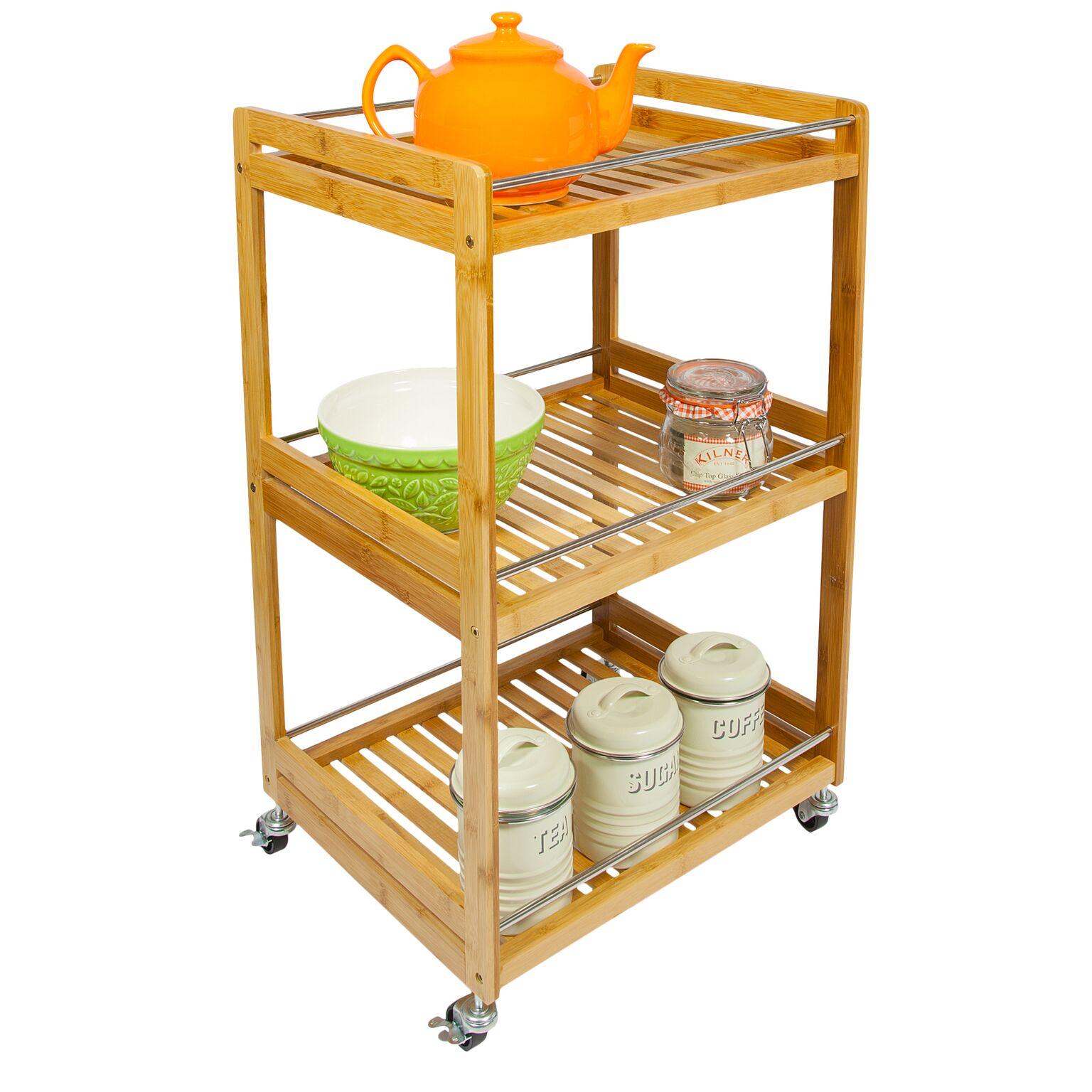 Kitchen Island On Wheels Uk: Woodluv Bamboo 3 Tier Kitchen Storage Serving Trolley